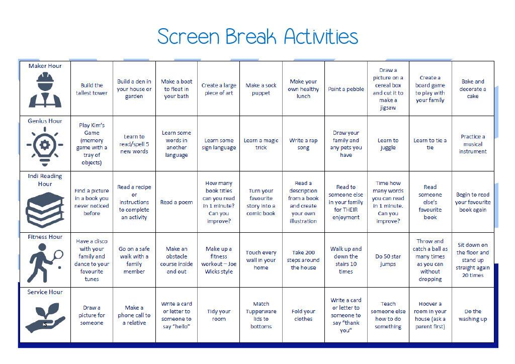 Screen break ideas